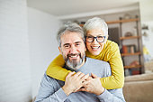 senior couple happy elderly love together man woman portrait gray hair