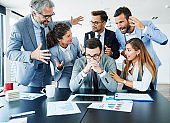 businessman stress overwhelmed work problem team argue conflict problem