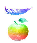 watercolor apple with feather isolated on a white background.