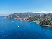 Aerial view of Avalon bay, Santa Catalina Island, USA