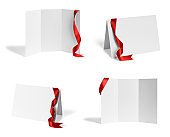 folded leaflet red ribbon bow paper template book desktop calendar