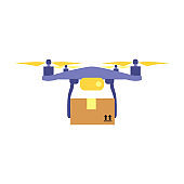 Vector illustration of flying drone with parcel or box.  Safe contactless delivery to the door by drone concept.