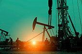 Oil drilling exploration, the oil workers are working