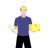 Vector illustration of white man with documents is delivering the parcel or box.  Safe contactless delivery to the door by courier concept.