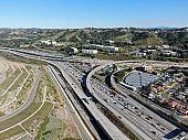Aerial view of highway with vehicle movement in Diamond Bar city, California, USA