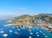 Aerial view of Avalon downtown and bay in Santa Catalina Island, USA