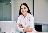 business businesswoman leader executive meeting office laptop smiling portrait