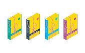 Set of isolated isometric packed book