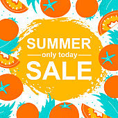 Summer sale template banner with tomato