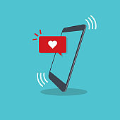 Vector illustration smartphone with heart emoji speech bubble get message on screen. Social network and mobile device concept. Flat design for print, websites, web banner.