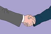 Business handshake, contract agreement, illustration.