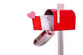 Love letter in the mailbox with a heart, concept love and romance