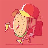 Delivery Burger delivering pizza vector illustration.