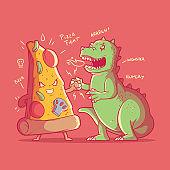 Pizza character fighting monster vector illustration.