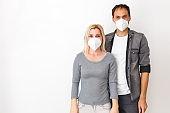 family husband wife boyfriend girlfriend quarantined. Normal life with coronavirus. Lifestyle COVID-19. Quarantine virus protection sterility home together heart symbol