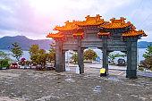 Wenwu Temple Famous Landmark at Sun Moon Lake at Nantou Taiwan.