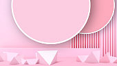 Modern ideas Geometric shapes Triangular and Circle minimal Creative concept and red wall Background - 3d rendering