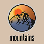 Mountain. Outdoor adventure badge sign or symbol