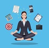 businesswoman meditating, time management,