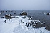 Rocky shore of Lake Ladoga. Leningrad region, Russia