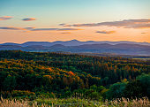 View at Sudetes Mountains in sunset time in autumn.