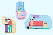 Vector character illustration of cleaning house scenes