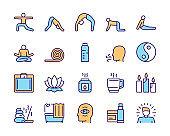 Vector color linear icon set of yoga lifestyle, asana, meditation