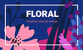 Vector beautiful template pattern with flower and simple color leaves shape. Floral elements on dark background.