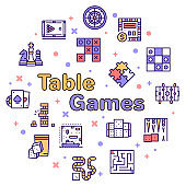 Vector color line icon round set of table games