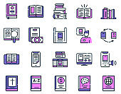 Books reading color linear vector icons set