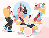 Jazz band playing music at festival, concert or perform on stage