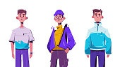 Fashionable guy. Character design. Cartoon vector flat illustration.