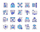 Vector color linear icon set of data. Outline symbol collection of datum analysis