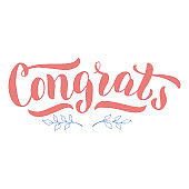 Congrats lettering text postcard. Nice congratulation font design. Illustration typography for banner, card, poster, sign. Vector eps 10.
