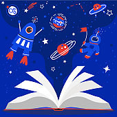Outer space, cosmos, book, blue vector print. Learning, dreaming, reading. Stars, planets, rocket, austronaut pattern.