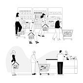 Customers at supermarket choose products, paying purchases