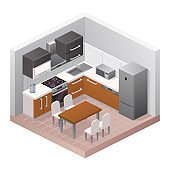 Vector realistic illustration isometric kitchen