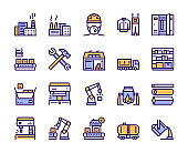 Factory color line icon set. Labor and engineering concept