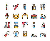 Barbershop outline icons set on white background
