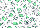 Disinfection green seamless pattern. Vector background included line icons as aerosol, sanitizer,wet cleaning, protection mask pictogram for antibacterial housekeeping