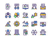 Set of teamwork related vector linear Icons. Communication concept.