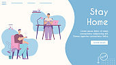 Vector banner of stay home concept, homeschooling