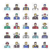 Vector color linear icon set of workers men objects