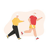 Grandfather and grandmother jogging together