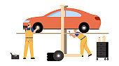 Technicians team working in car service and repair scene