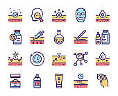 Cosmetology and skin care color linear icon set. 24 hour face care protection