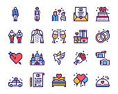 Wedding color linear vector icons set. Love forever