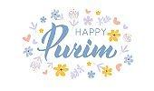 Happy Purim hand drawn lettering tex