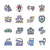 Hierarchy of human needs linear color icon set. Maslow Pyramid concept.
