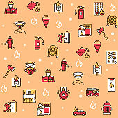 Firefighting red linear vector icons set